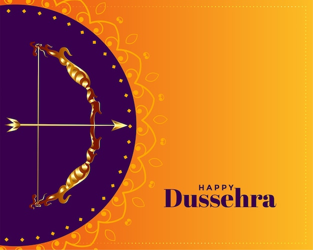 Happy dussehra decorative greeting card design Free Vector