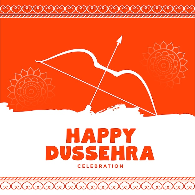 Happy dussehra decorative orange wishes greeting card design Free Vector
