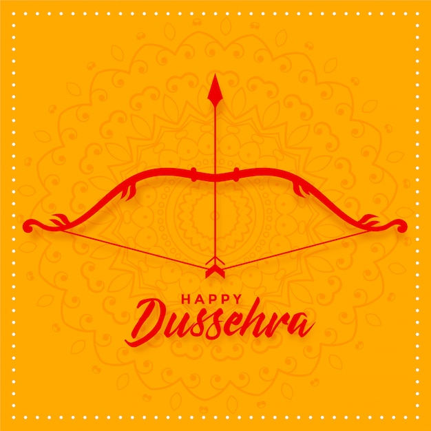 Happy dussehra festival card with bow and arrow Free Vector