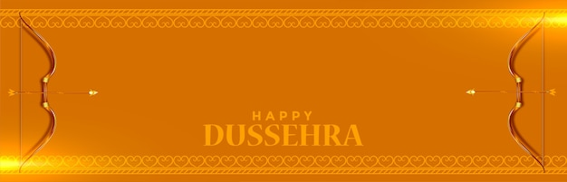 Happy dussehra festival celebration banner with bow and arrow Free Vector