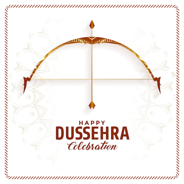 Happy dussehra festival celebration card Free Vector