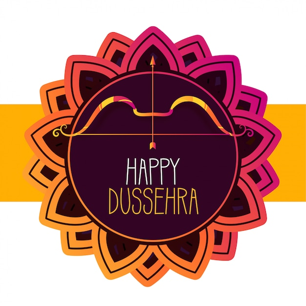Happy dussehra festival greeting card Free Vector