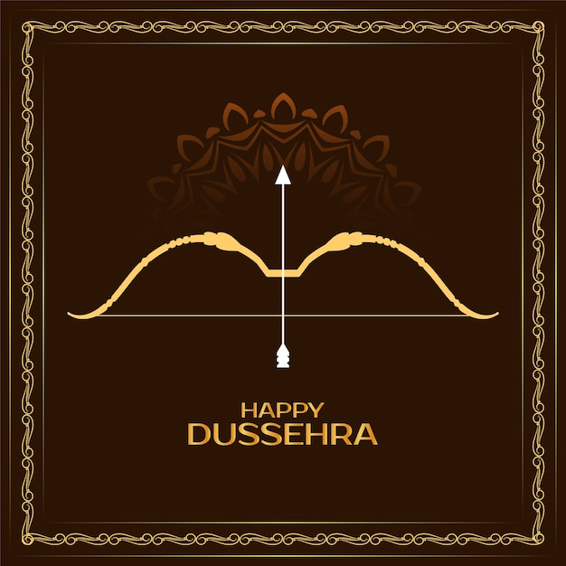 Happy dussehra festival greeting frame background vector Free Vector