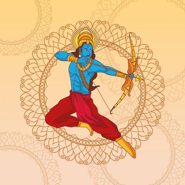 Happy dussehra festival of india Premium Vector