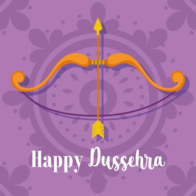인도의 행복 Dussehra 축제, 활 화살 보라색 배경 전통 종교 의식 프리미엄 벡터