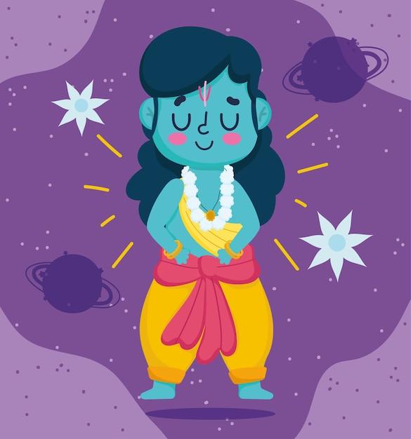 인도의 행복한 Dussehra 축제, 주님 라마 만화 캐릭터, 전통 종교 의식 프리미엄 벡터