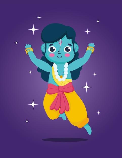 인도의 행복한 Dussehra 축제, 주님 라마 만화, 전통 종교 의식 프리미엄 벡터