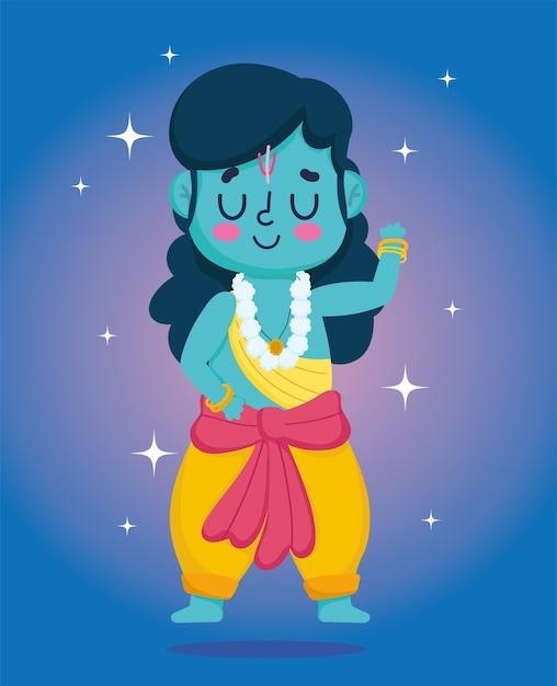 인도의 행복한 Dussehra 축제, 전통 종교 문자 힌두교 프리미엄 벡터