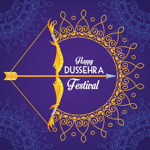 보라색 배경에 아치와 만다라와 함께 행복 Dussehra 축제 포스터 프리미엄 벡터