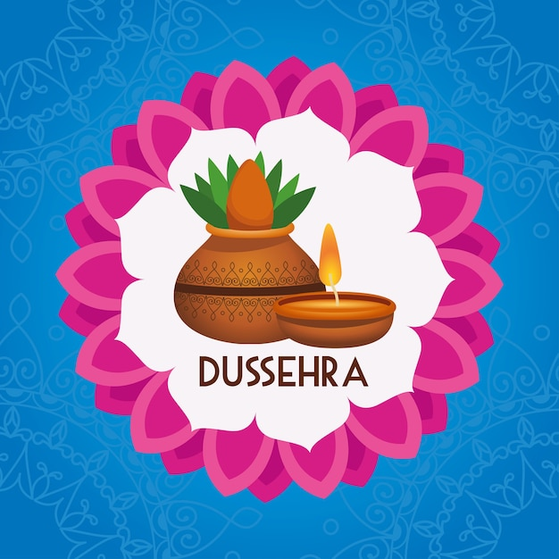 Плакат фестиваля happy dussehra с комнатным растением и свечой в мандале Premium векторы