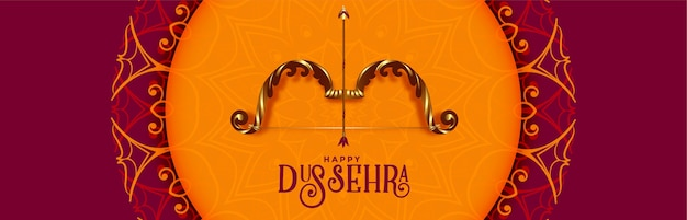 Happy dussehra festival traditional banner with bow and arrow Free Vector