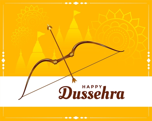 Happy dussehra festival wishes greeting card Free Vector
