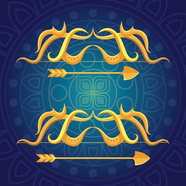 青色の背景に金色の矢を持つ幸せこれdussehra祭 Premiumベクター