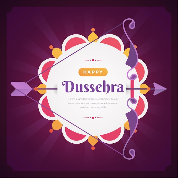 Happy dussehra flat design background with bow and arrow Premium Vector