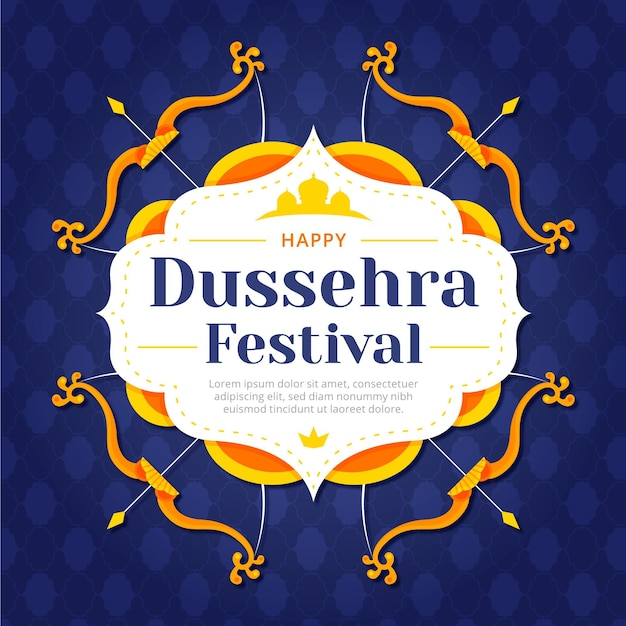 Happy dussehra flat design background with bows and arrows Premium Vector
