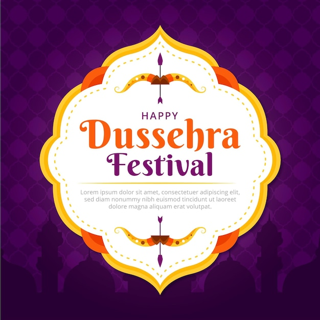 Happy dussehra flat design traditional background Premium Vector