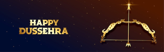 Happy dussehra indian festival celebration with bow and arrow vector Free Vector