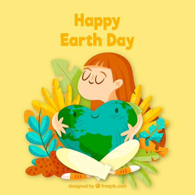 Happy earth day background with cute world Free Vector