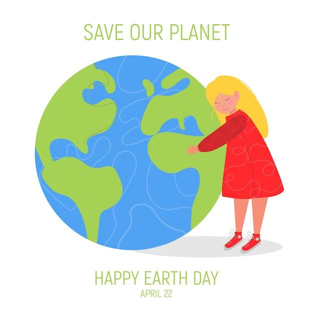 Happy earth day banner Premium Vector