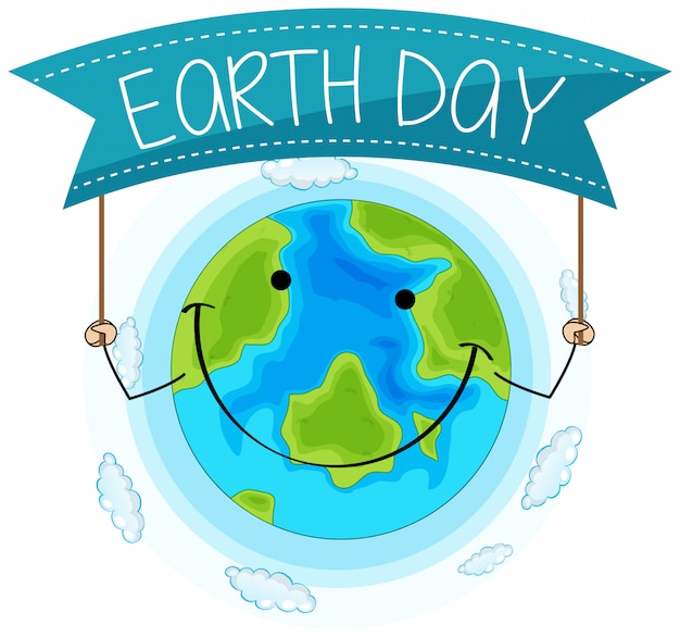 Happy earth day concept Free Vector