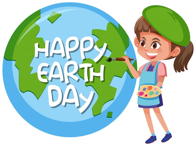 Happy earth day girl concept Premium Vector