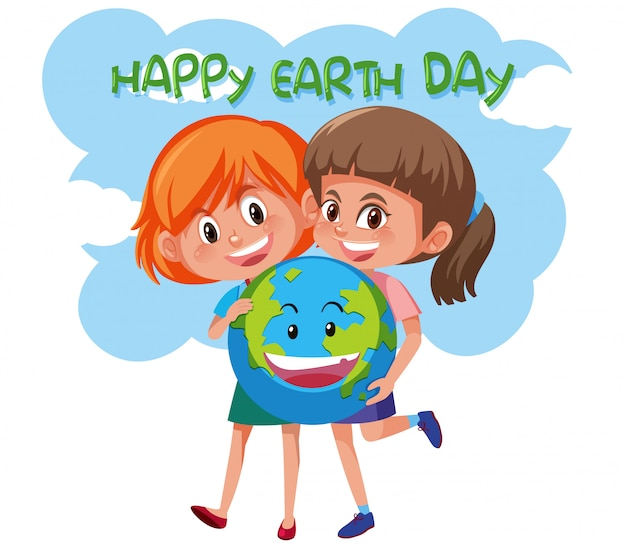 Happy earth day girls holding earth Premium Vector