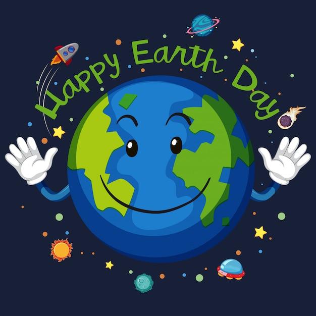 Happy earth day space concept Premium Vector