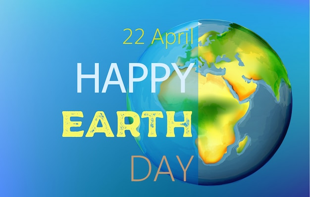 Happy earth day watercolor drawing Free Vector