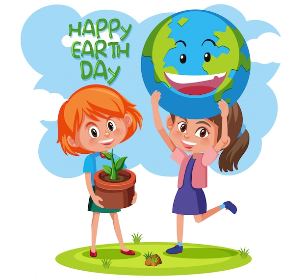 Happy earth day with girls concept Premium Vector