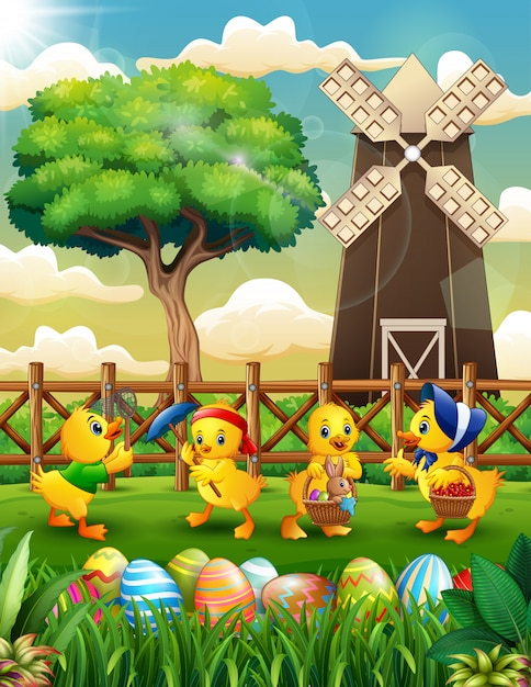 Happy easter background farm with a bunch cute duckling Premium Vector