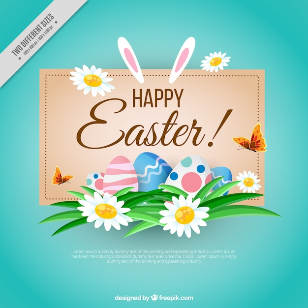 Happy easter background with floral\ details