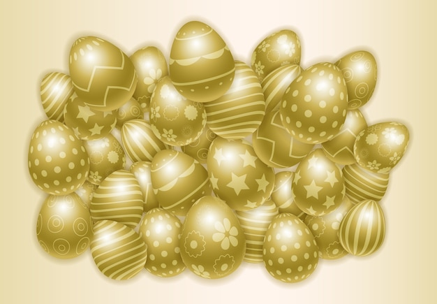 Happy easter background with lots of decorated golden eggs. Premium Vector