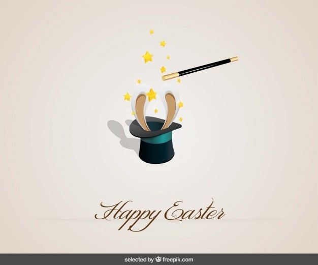 Happy easter background with a rabbit inside a hat Free Vector