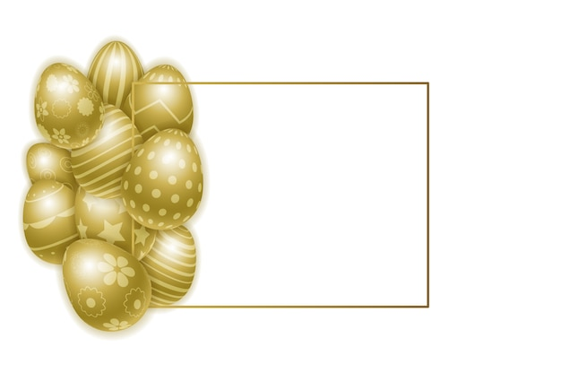 Happy easter background with realistic decorated golden eggs. Premium Vector