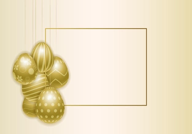 Happy easter background with realistic painted golden eggs. Premium Vector