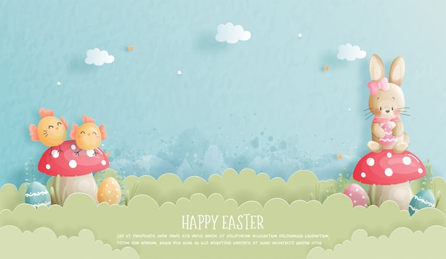 Happy easter banner with cute bunny and ester eggs in paper cut style  illustration. Premium Vector