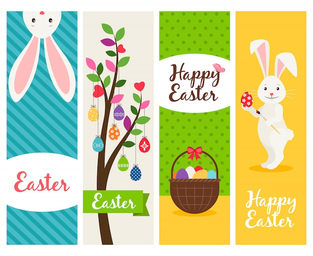 Happy easter banners. ostern sunday spring celebration banner set with eggs and flowers. vector illustration Premium Vector