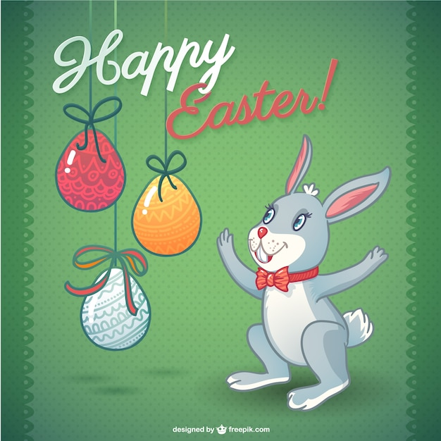 happy easter bunny template vector free download
