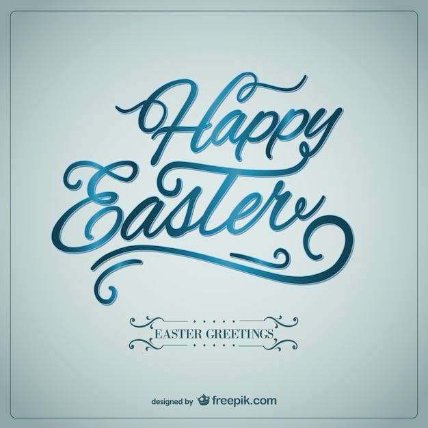 Happy easter card in calligraphic style vector free download