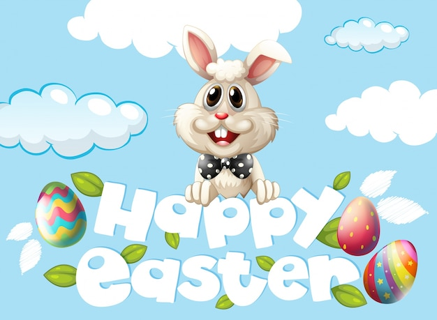Happy Easter Card Template With Bunny And Eggs In The Sky Vector