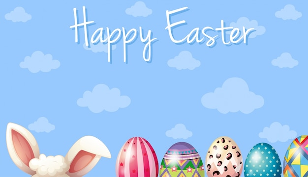 Happy Easter Card Template With Bunny And Eggs Vector  Premium Download