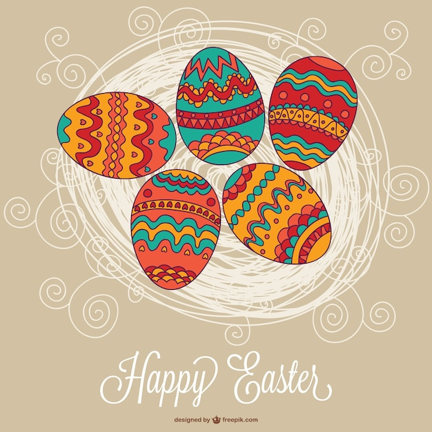 happy easter card with boho eggs vector free download