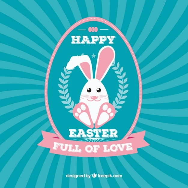 happy easter card with cute bunny vector free download