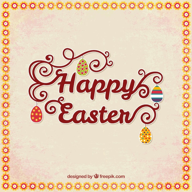 Happy easter card with lettering Vector – Happy Easter Card
