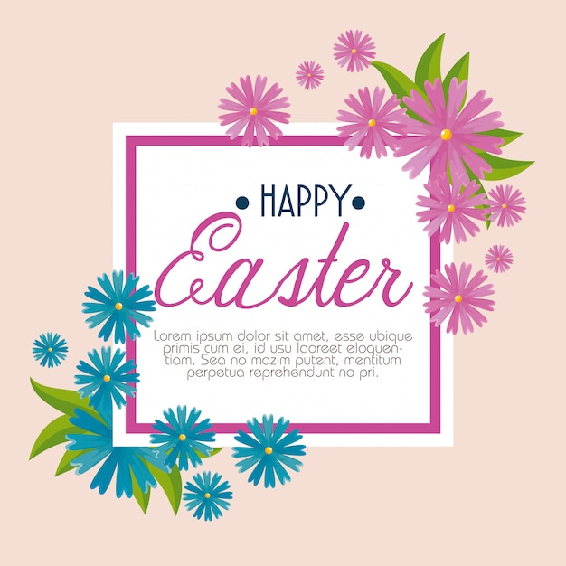 Happy easter celebration with flowers and leaves Free Vector