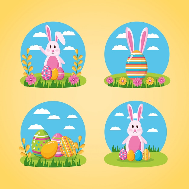 Happy easter celebration Free Vector
