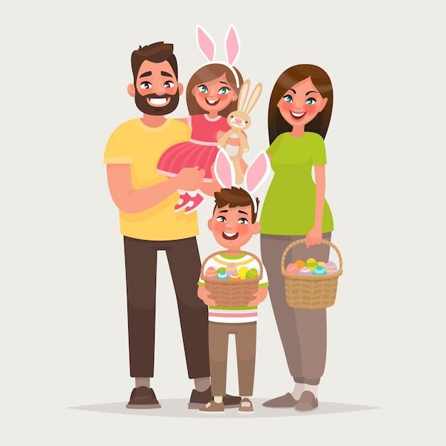 Хв. веселая семья с корзинами, полными яиц. папа, мама, сын и дочь вместе отмечают религиозный праздник. в мультяшном стиле. Premium векторы