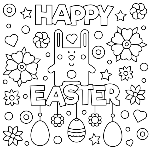 Happy Easter Coloring Page Vector Illustration Vector Premium