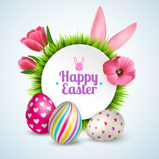 Happy easter composition with traditional symbols colorful eggs rabbit ears and spring flowers realistic Free Vector