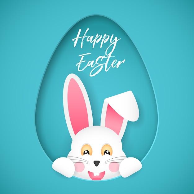 イースター、おめでとう。おめでとうポスター。イースターバニーは穴の外を卵の形で見ています。漫画のスタイル。 Premiumベクター